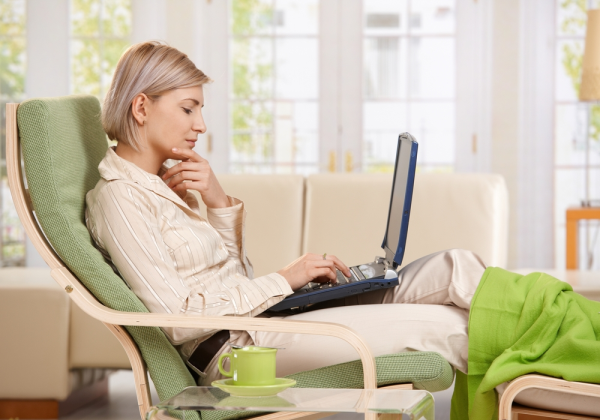 Photo   Woman working from home on laptop resized 600