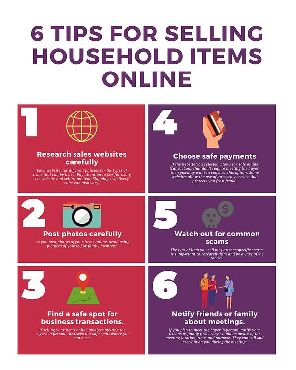 6 Tips for Selling Household Items Online Infographic